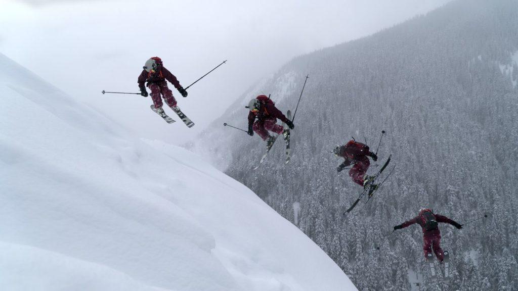Eine Gruppe Skifahrer in Kanada