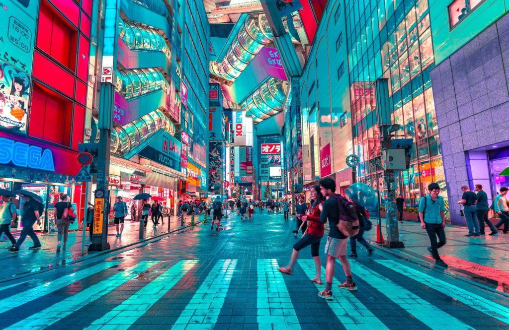 Stadtzentrum von Tokio in der Abenddämmerung